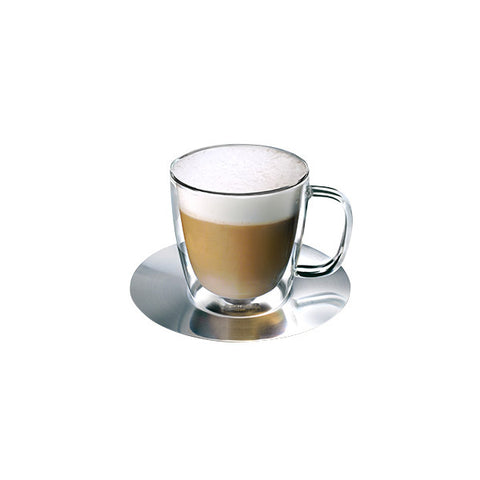 Athena Nova Double Wall Glass & Saucer 300ml (set of 2)