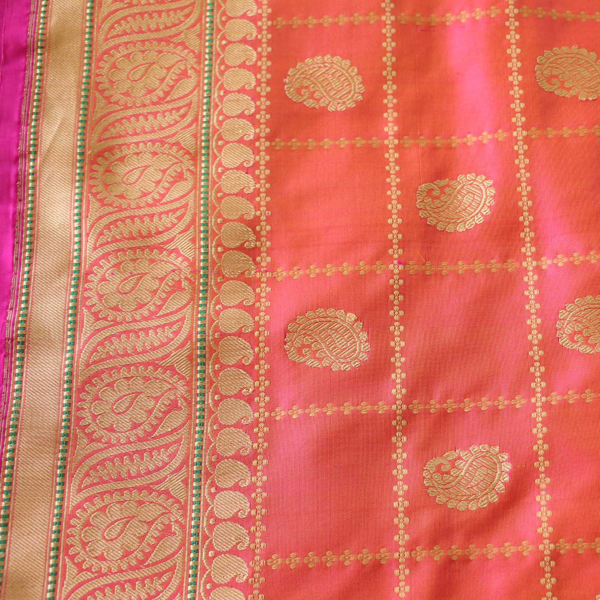 Light Orange-Indian Pink Pure Katan Silk Banarasi Handloom Saree - Tilfi - 3