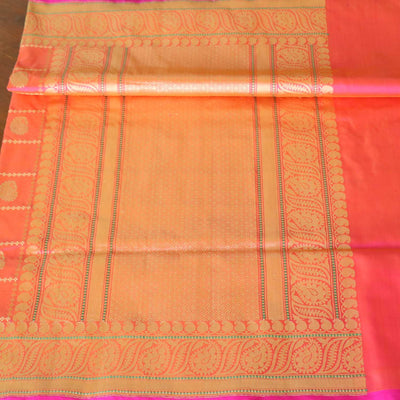 Light Orange-Indian Pink Pure Katan Silk Banarasi Handloom Saree - Tilfi - 2