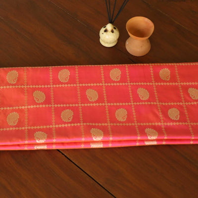 Light Orange-Indian Pink Pure Katan Silk Banarasi Handloom Saree - Tilfi