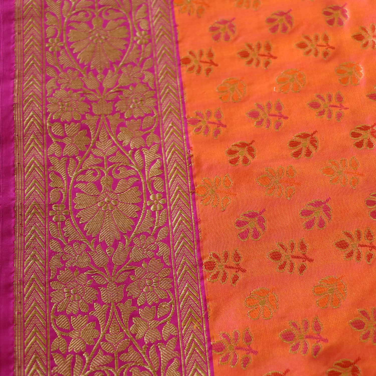 Light Orange-Magenta Pure Katan Banarasi Handloom Saree - Tilfi - 3