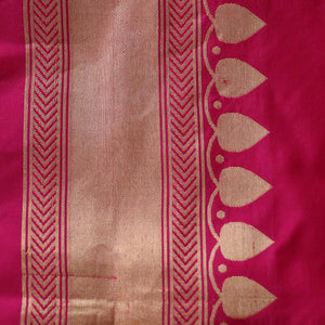 Indian Pink-Orange Pink Pure Katan Silk Banarasi Handloom Saree - Tilfi