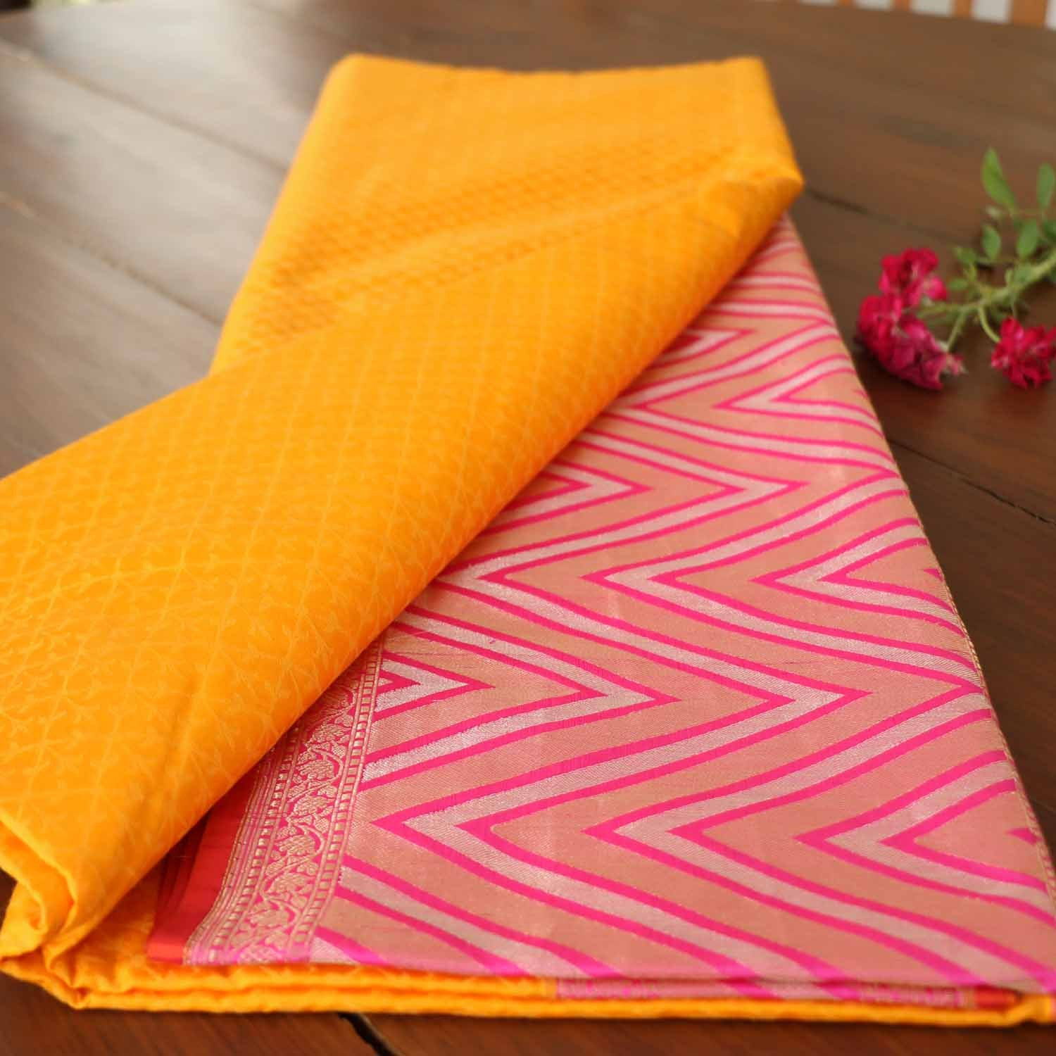 Yellow-Indian Pink Pure Katan Silk Banarasi Handloom Saree - Tilfi - 1