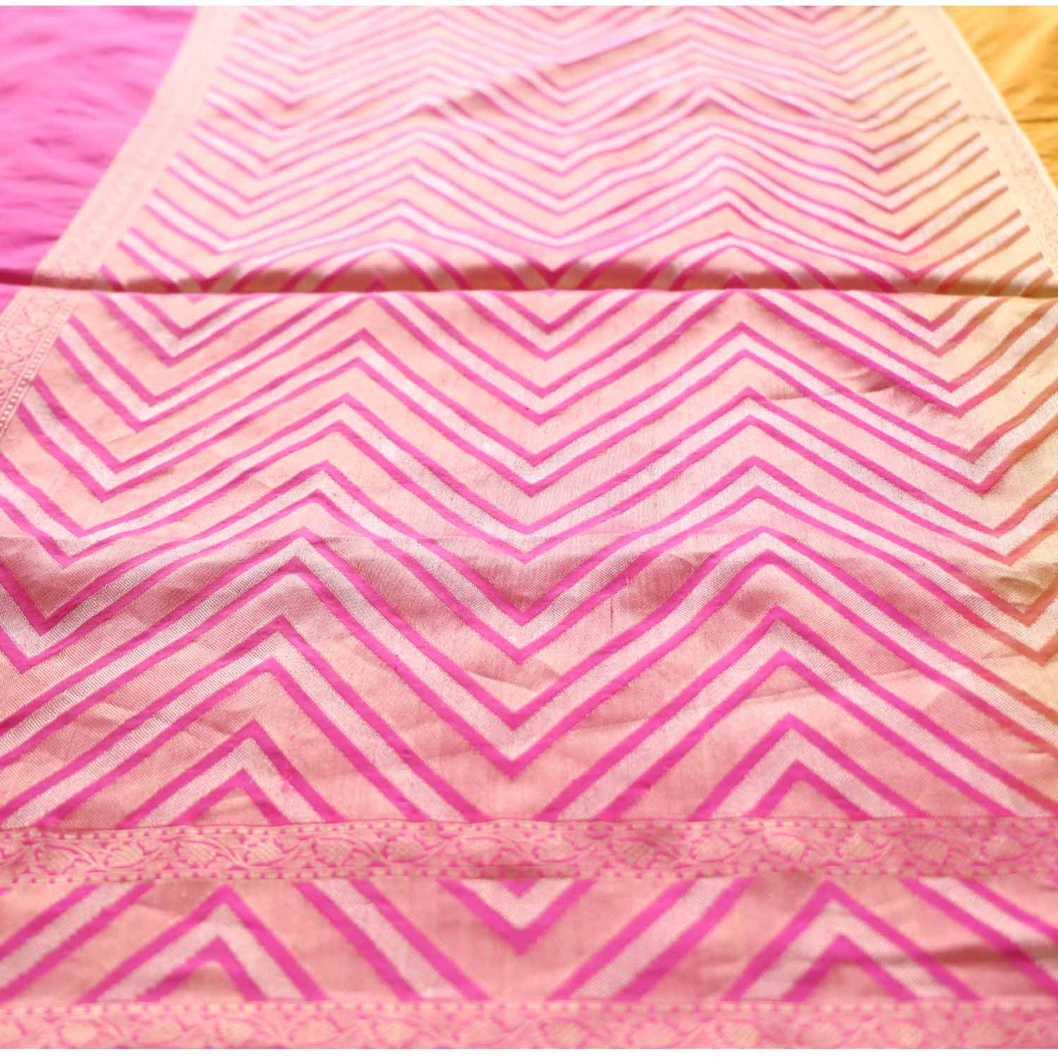 Yellow-Indian Pink Pure Katan Silk Banarasi Handloom Saree - Tilfi - 2