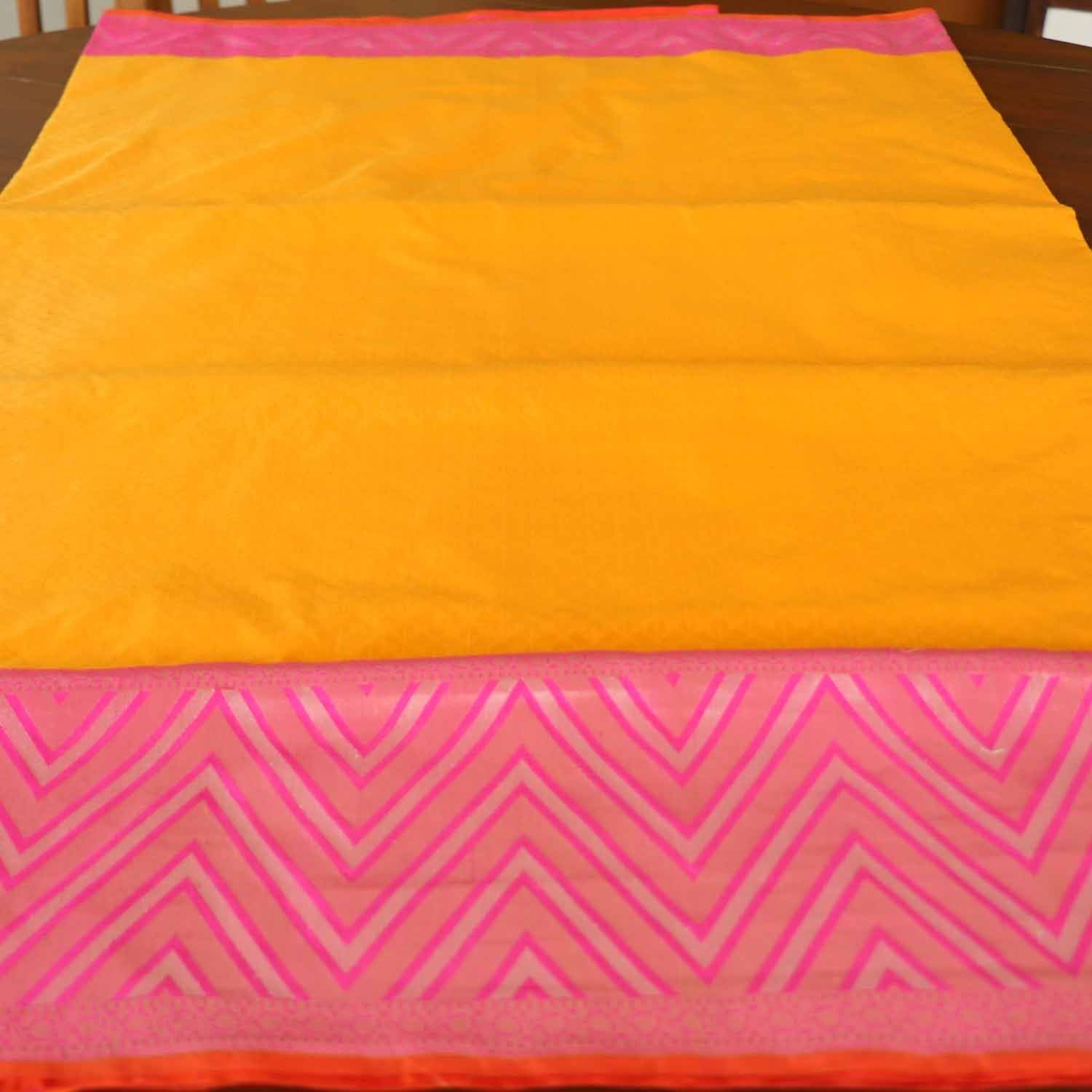 Yellow-Indian Pink Pure Katan Silk Banarasi Handloom Saree - Tilfi - 3