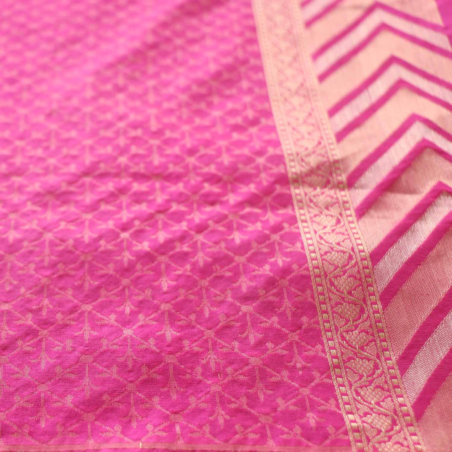 Yellow-Indian Pink Pure Katan Silk Banarasi Handloom Saree - Tilfi - 5