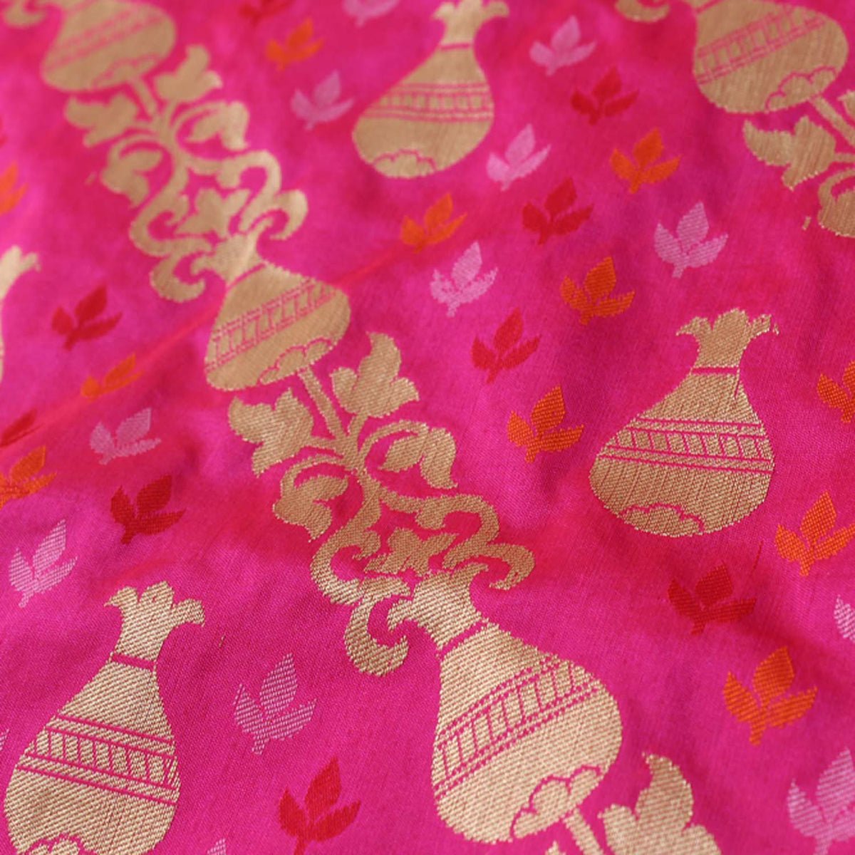 Orange Rose-Pink Pure Katan Silk Banarasi Handloom Dupatta - Tilfi
