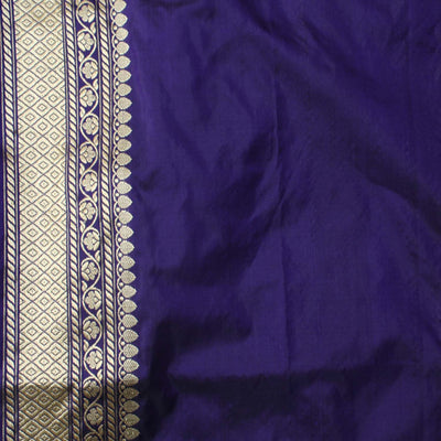 Royal Blue Pure Katan Silk Banarasi Handloom Saree - Tilfi - 6
