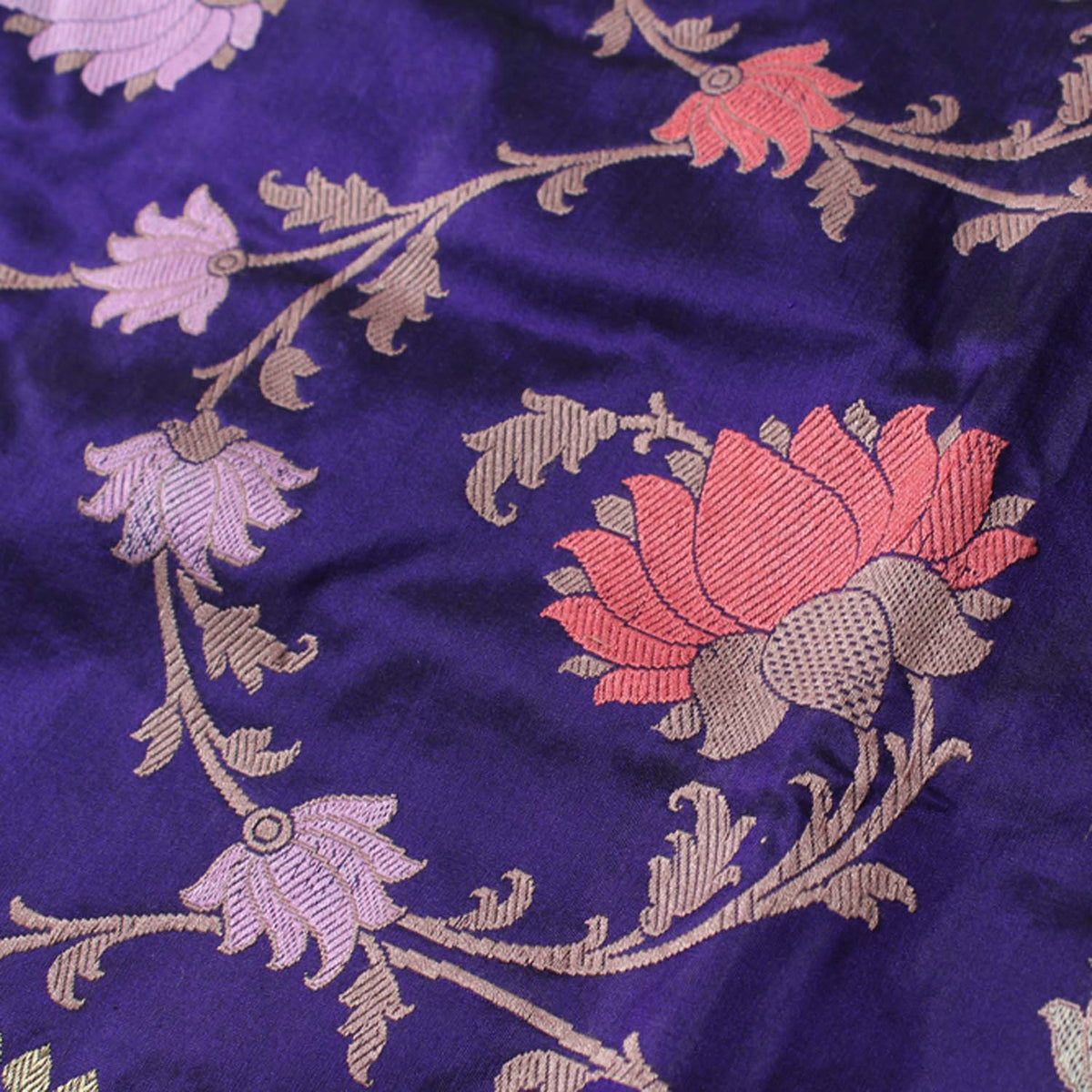 Royal Blue Pure Katan Silk Banarasi Handloom Saree - Tilfi - 4