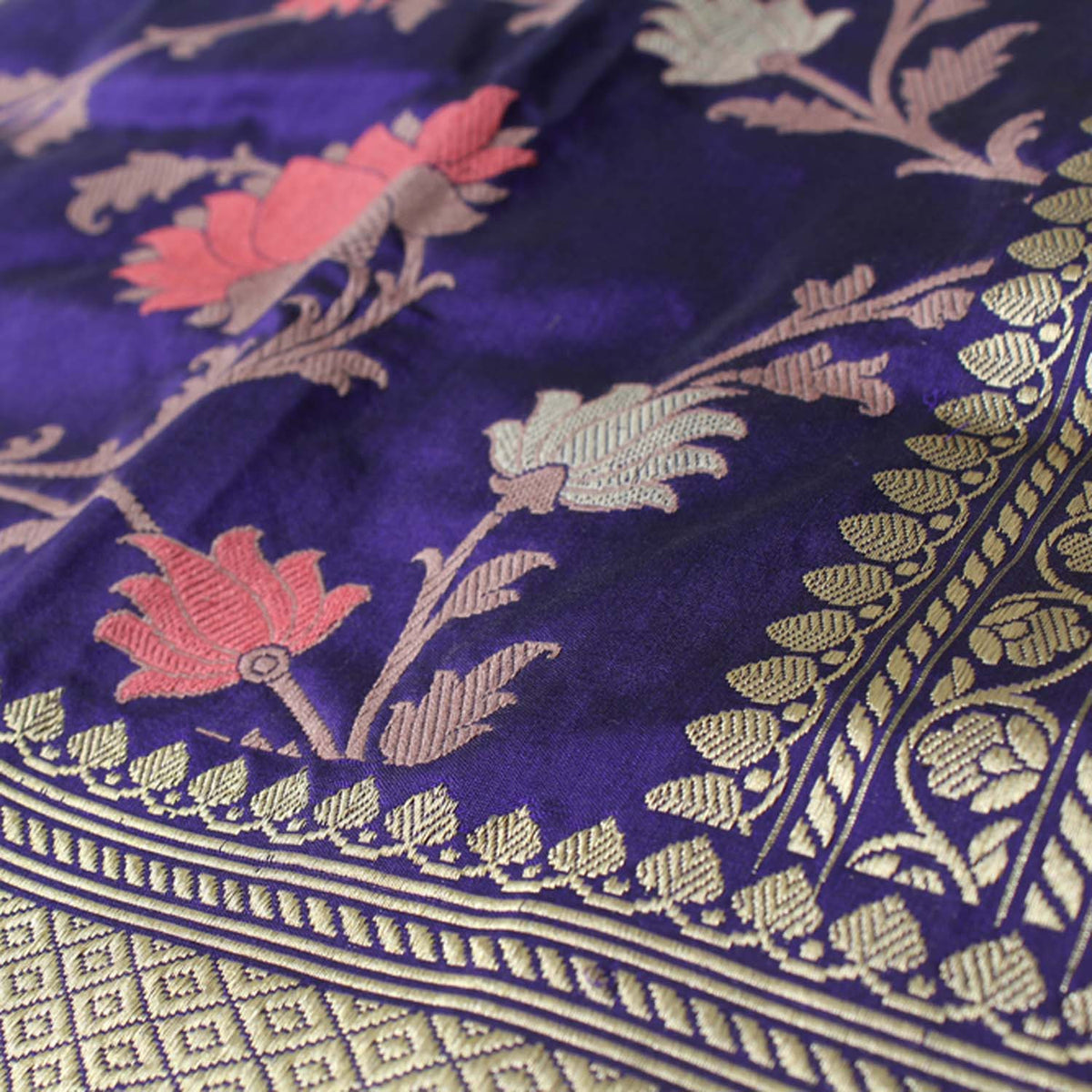 Royal Blue Pure Katan Silk Banarasi Handloom Saree - Tilfi - 5