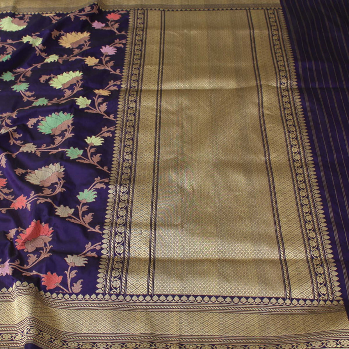 Royal Blue Pure Katan Silk Banarasi Handloom Saree - Tilfi - 2