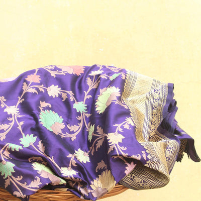 Royal Blue Pure Katan Silk Banarasi Handloom Saree - Tilfi - 1