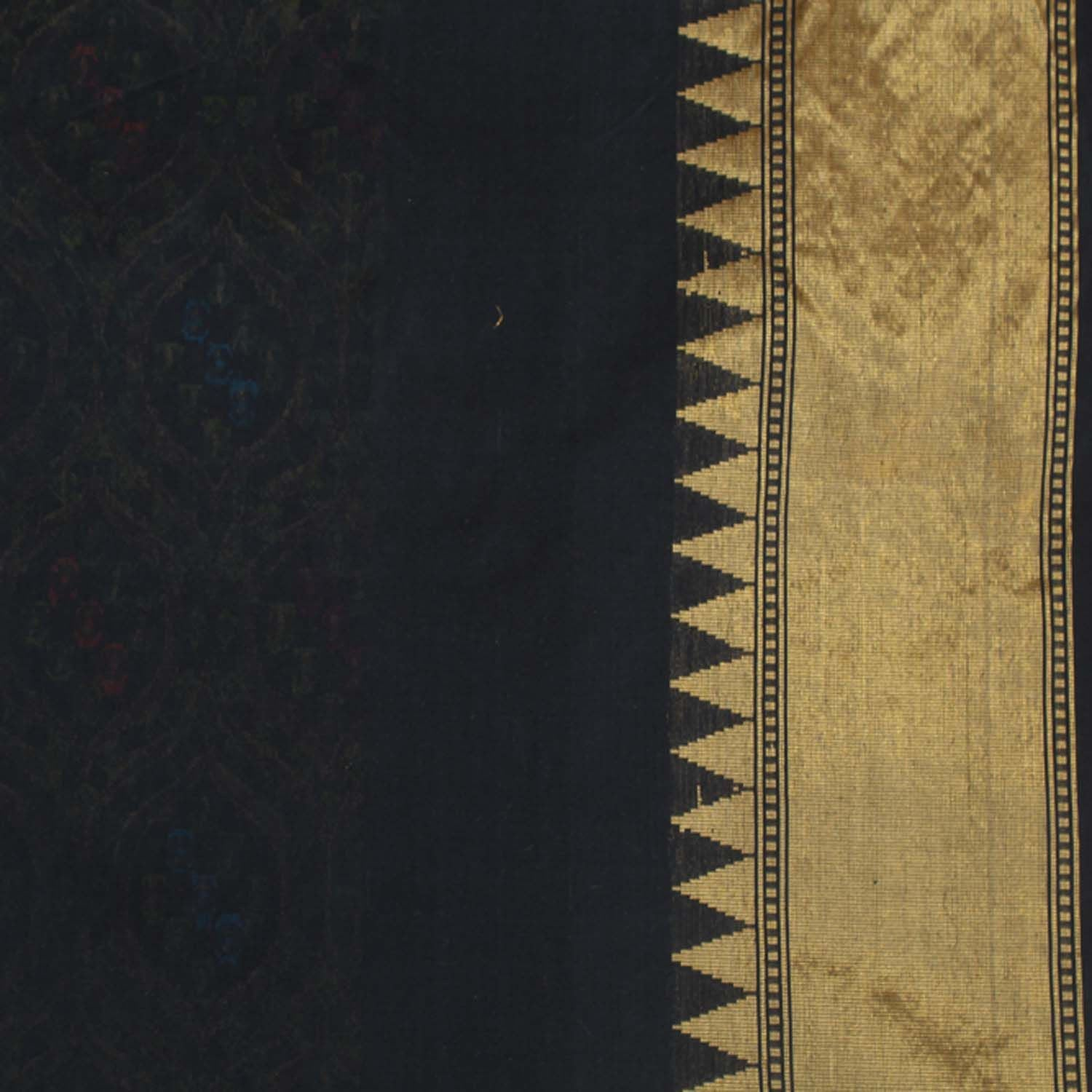 Black Pure Silk Georgette Banarasi Handloom Saree - Tilfi - 4
