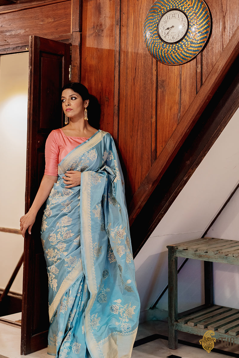 Pre-Order: Powder Blue Pure Katan Silk Banarasi Handloom Saree