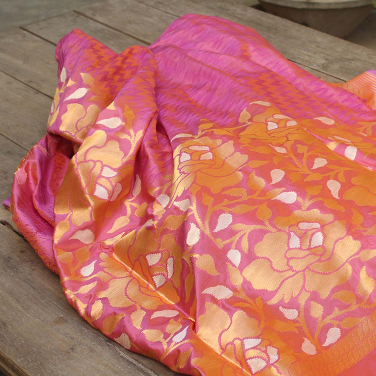 Orange Mauve Pure Katan Silk Banarasi Handloom Saree - Tilfi