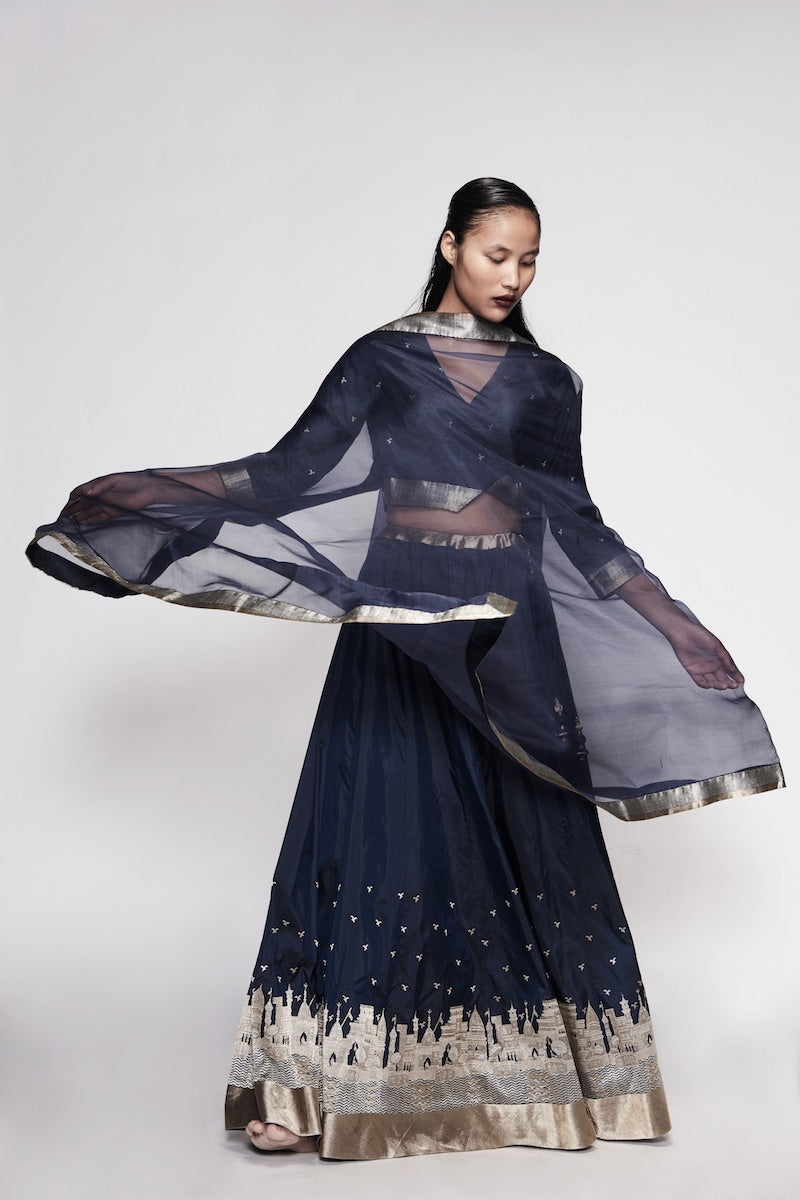Midnight Blue Pure Katan Silk Banarasi Handloom Made-to-Measure Lehenga