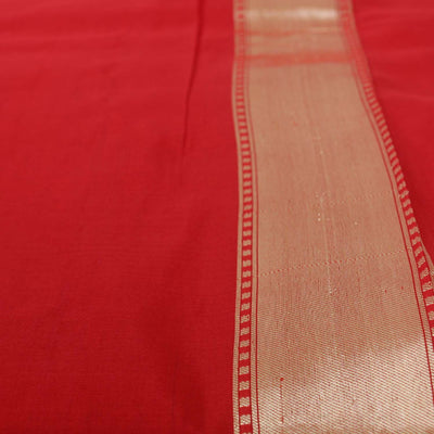 Red Pure Silk Georgette Banarasi Handloom Saree - Tilfi - 5