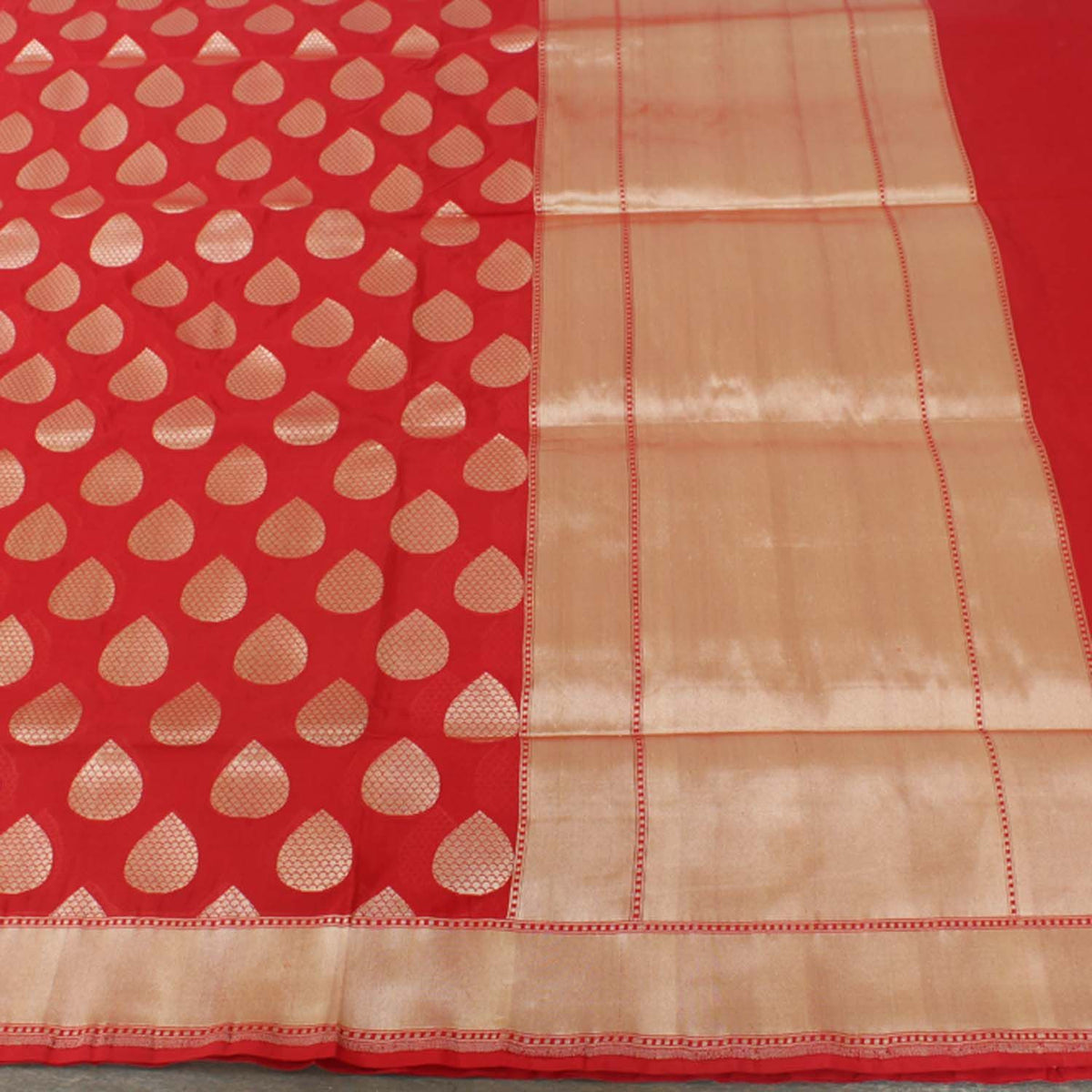 Red Pure Silk Georgette Banarasi Handloom Saree - Tilfi - 3