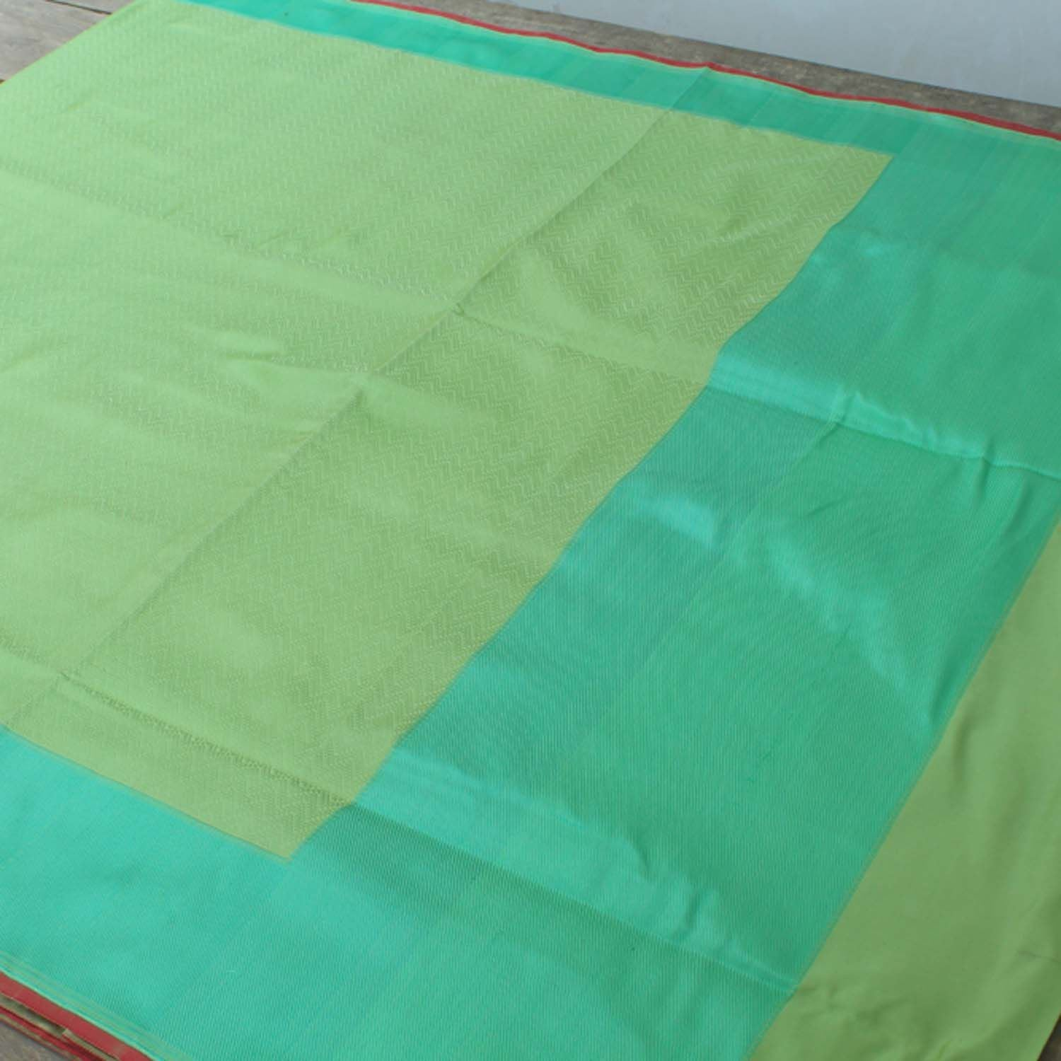 Pista Green Pure Satin Silk Banarasi Handloom Saree - Tilfi - 2