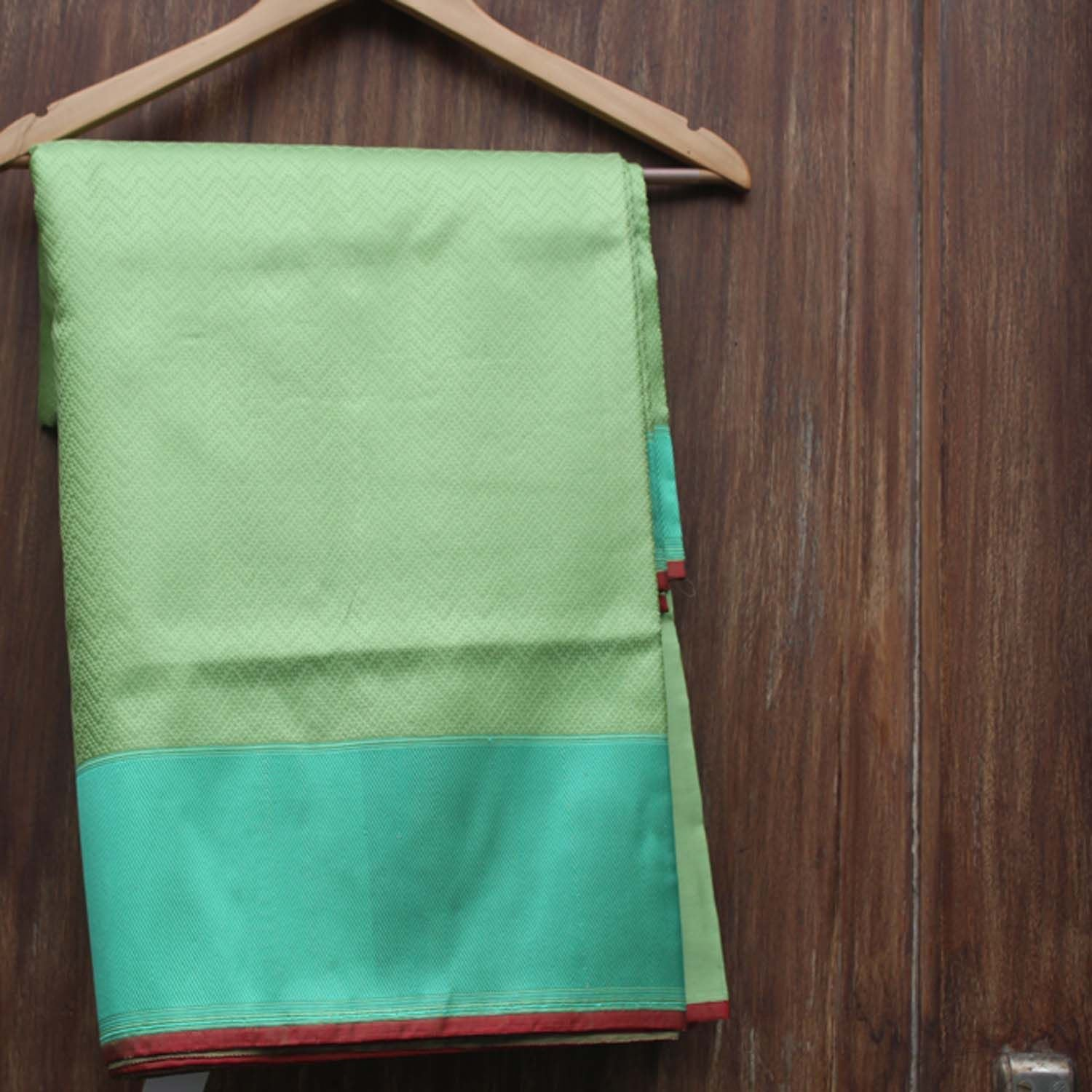 Pista Green Pure Satin Silk Banarasi Handloom Saree - Tilfi - 1