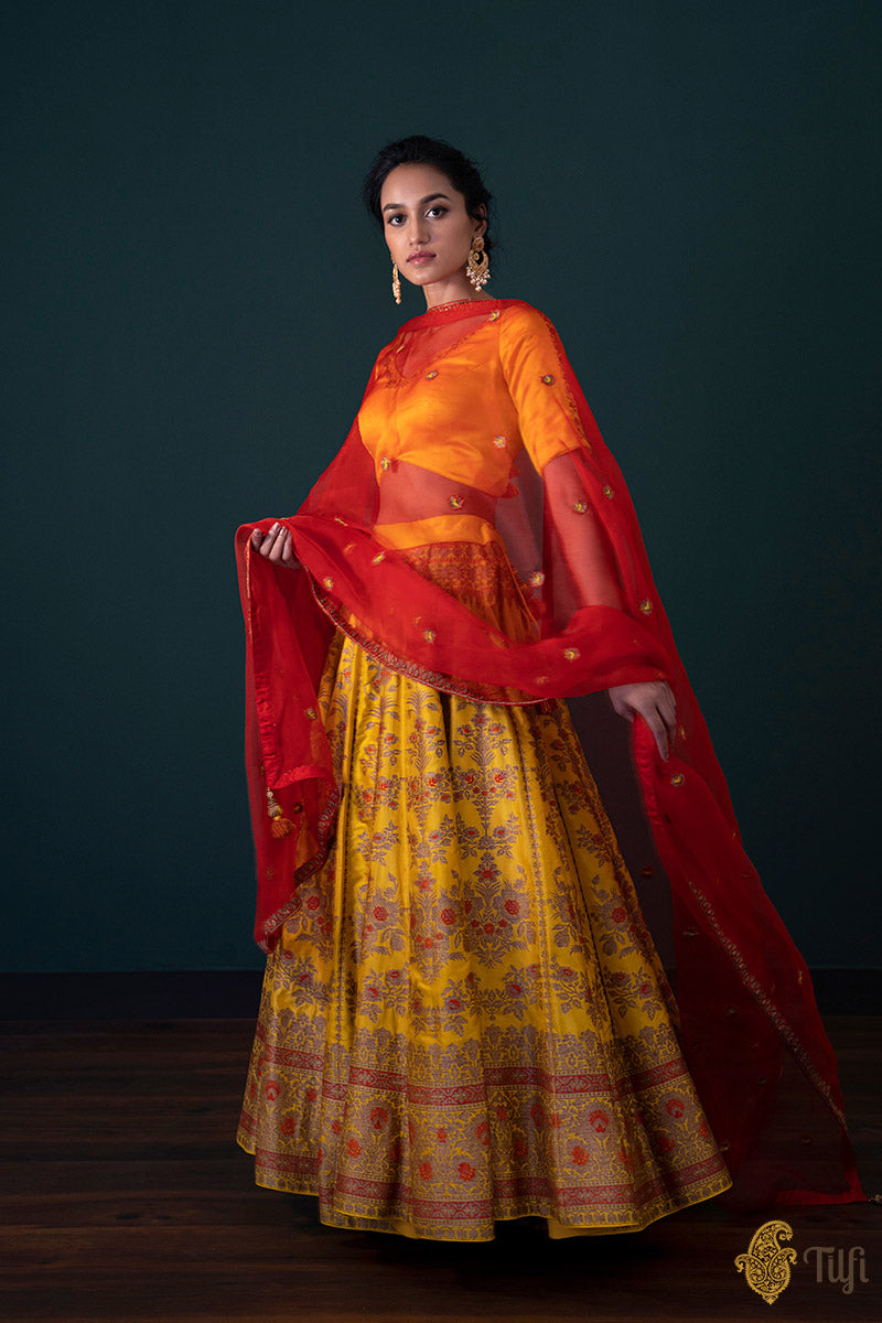 'Nargis' Yellow Pure Katan Silk Banarasi Handloom Lehenga Set