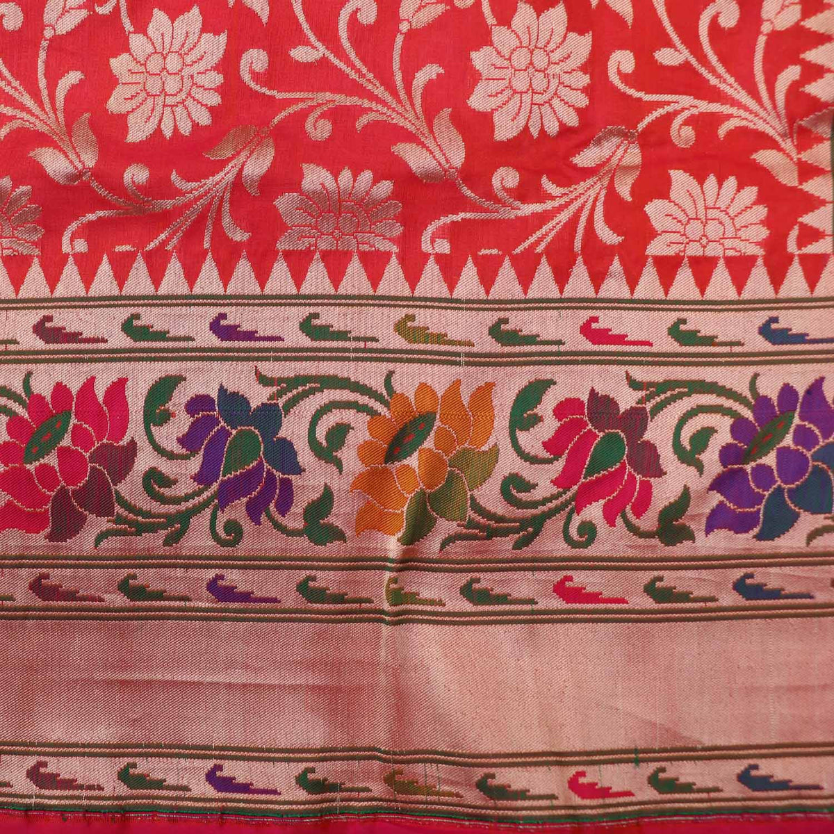Indian Pink-Orange Pure Silk Georgette Banarasi Handloom Saree - Tilfi