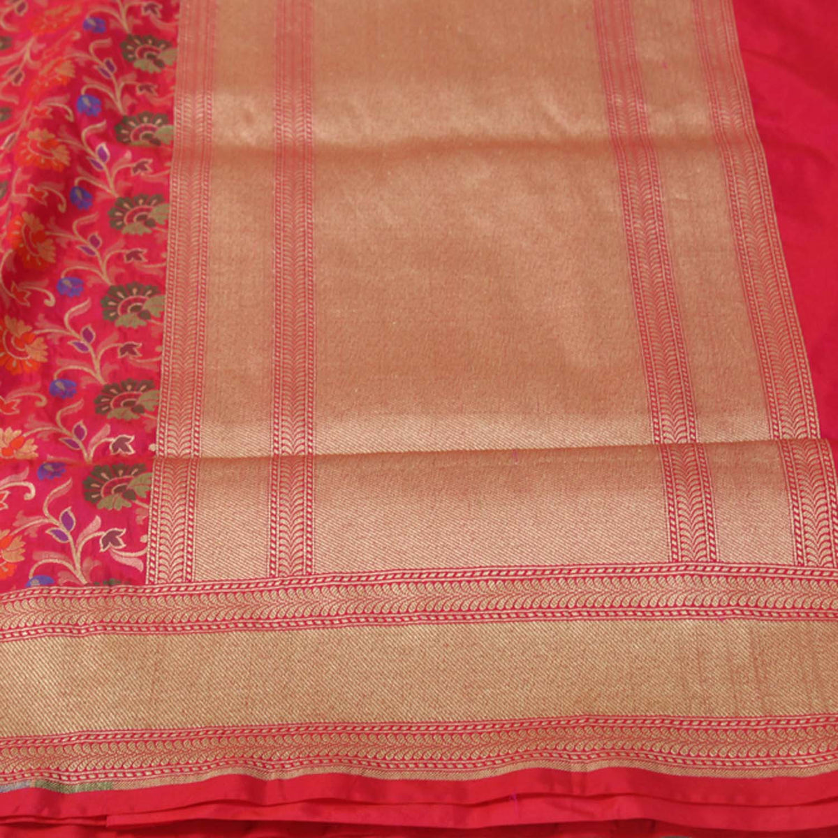 Orange-Indian Pink Pure Silk Georgette Banarasi Handloom Saree - Tilfi - 3