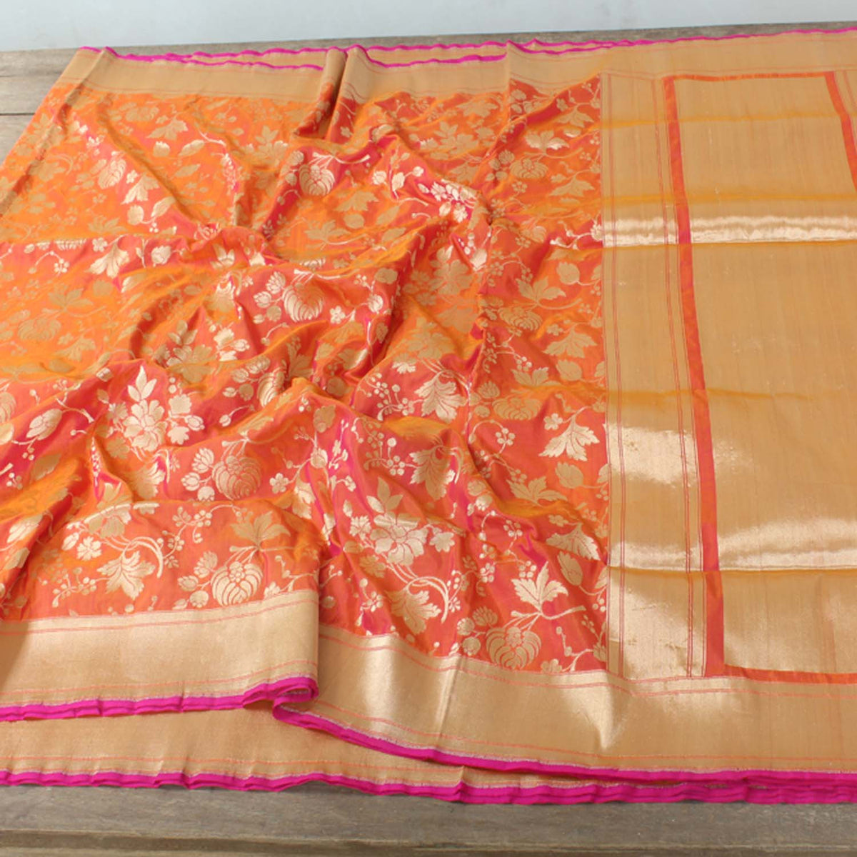 Gold-Indian Pink Pure Silk Georgette Banarasi Handloom Saree - Tilfi - 2