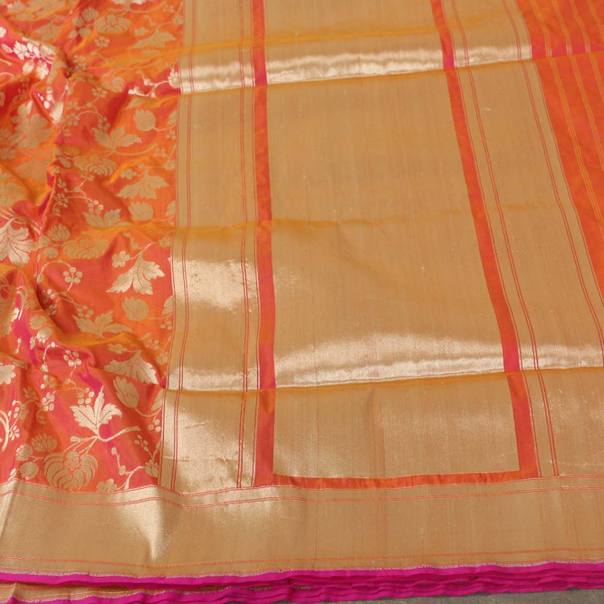 Gold-Indian Pink Pure Silk Georgette Banarasi Handloom Saree - Tilfi - 3