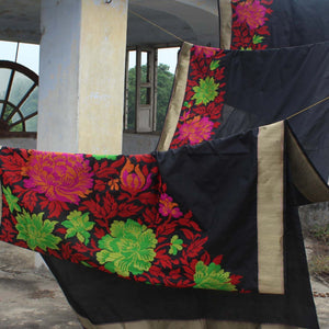 Black Pure Katan Silk Handloom Banarasi Saree - Tilfi
