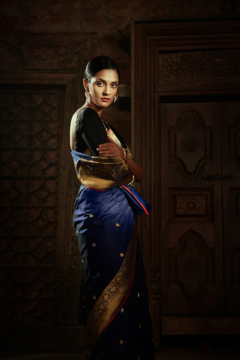 Navy Blue Pure Katan Silk Ektara Banarasi Handloom Saree