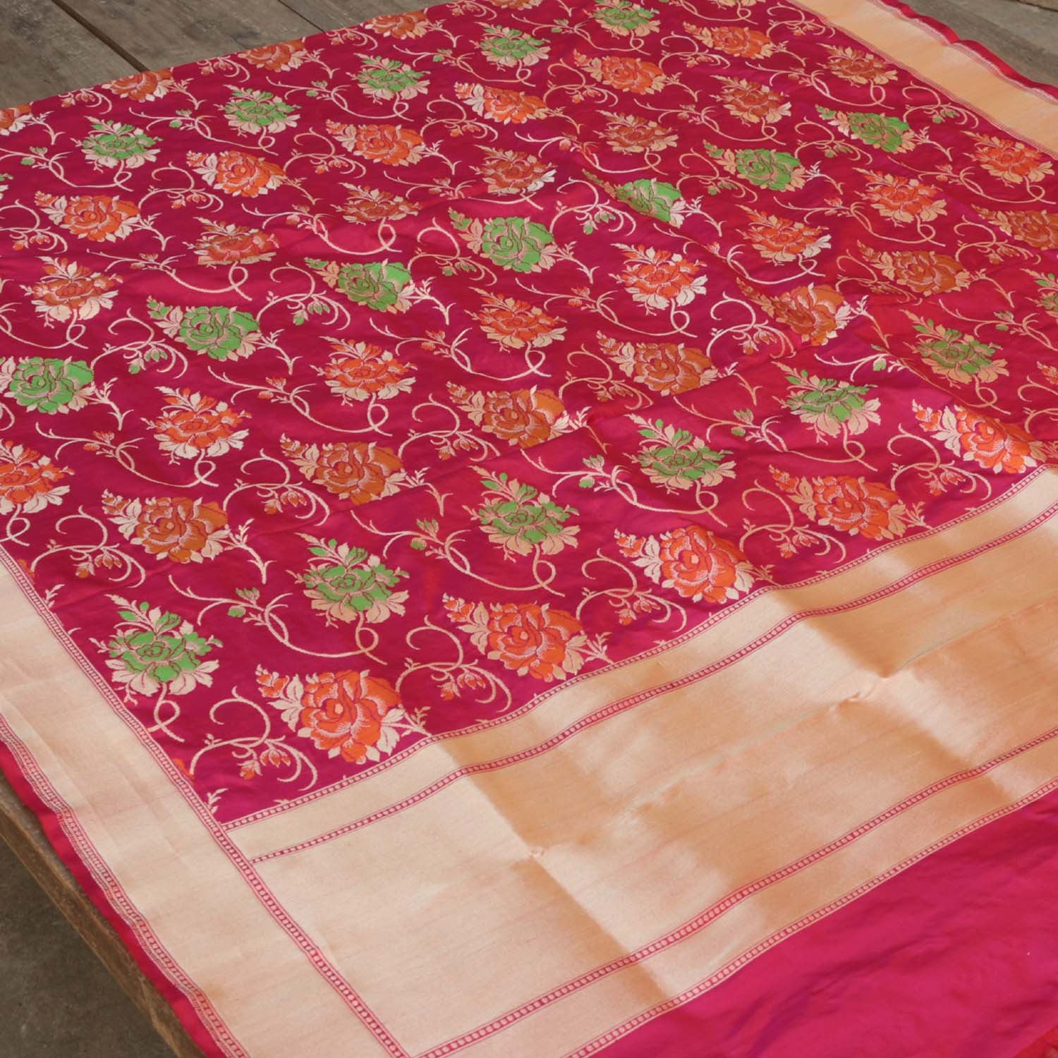 Indian Pink Pure Katan Silk  Banarasi Handloom Dupatta Red - Tilfi