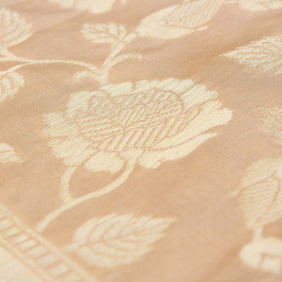 Beige Pure Katan Silk Dupatta & Orange-Pink Pure Katan Silk Fabric