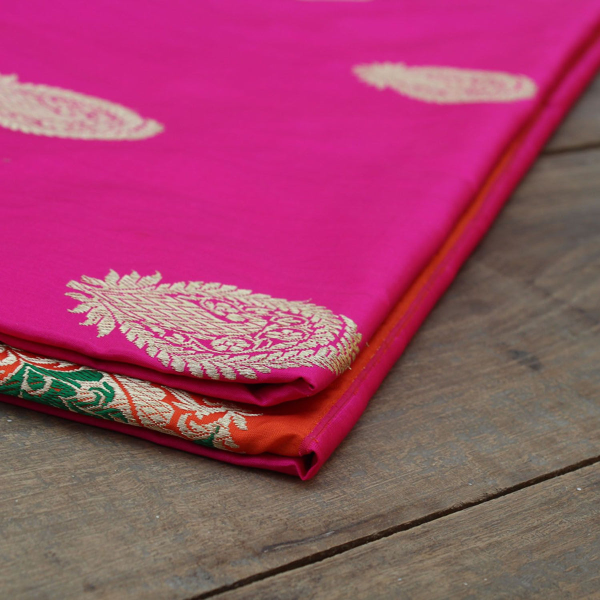 Indian Pink-Orange Pure Katan Silk Banarasi Handloom Saree - Tilfi - 4