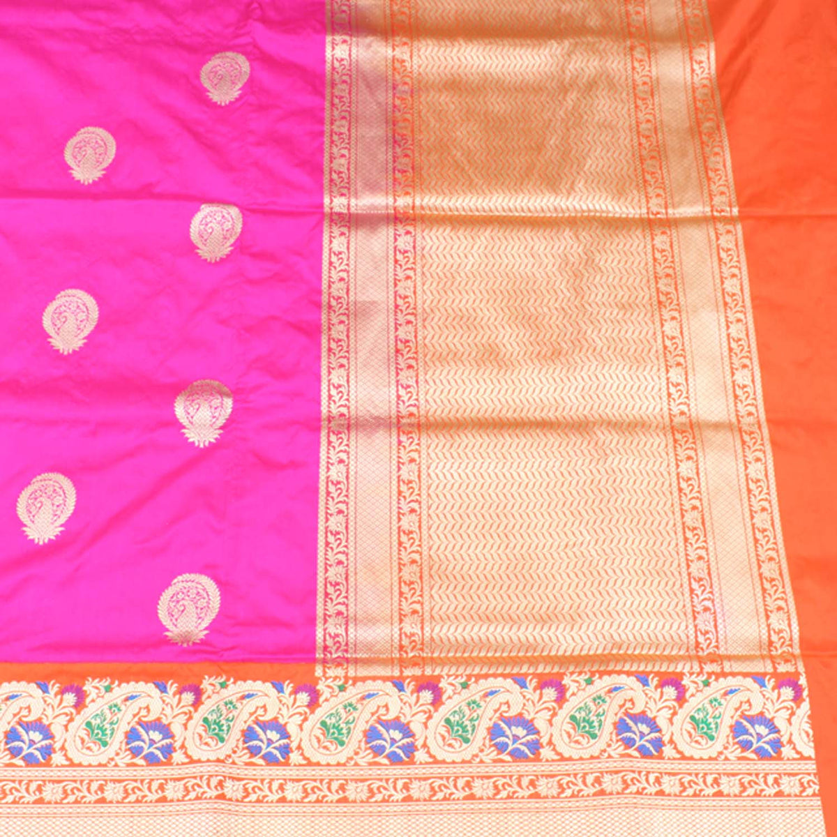 Indian Pink-Orange Pure Katan Silk Banarasi Handloom Saree - Tilfi - 2