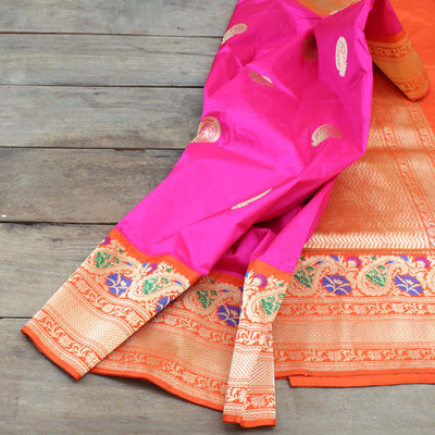 Indian Pink-Orange Pure Katan Silk Banarasi Handloom Saree - Tilfi