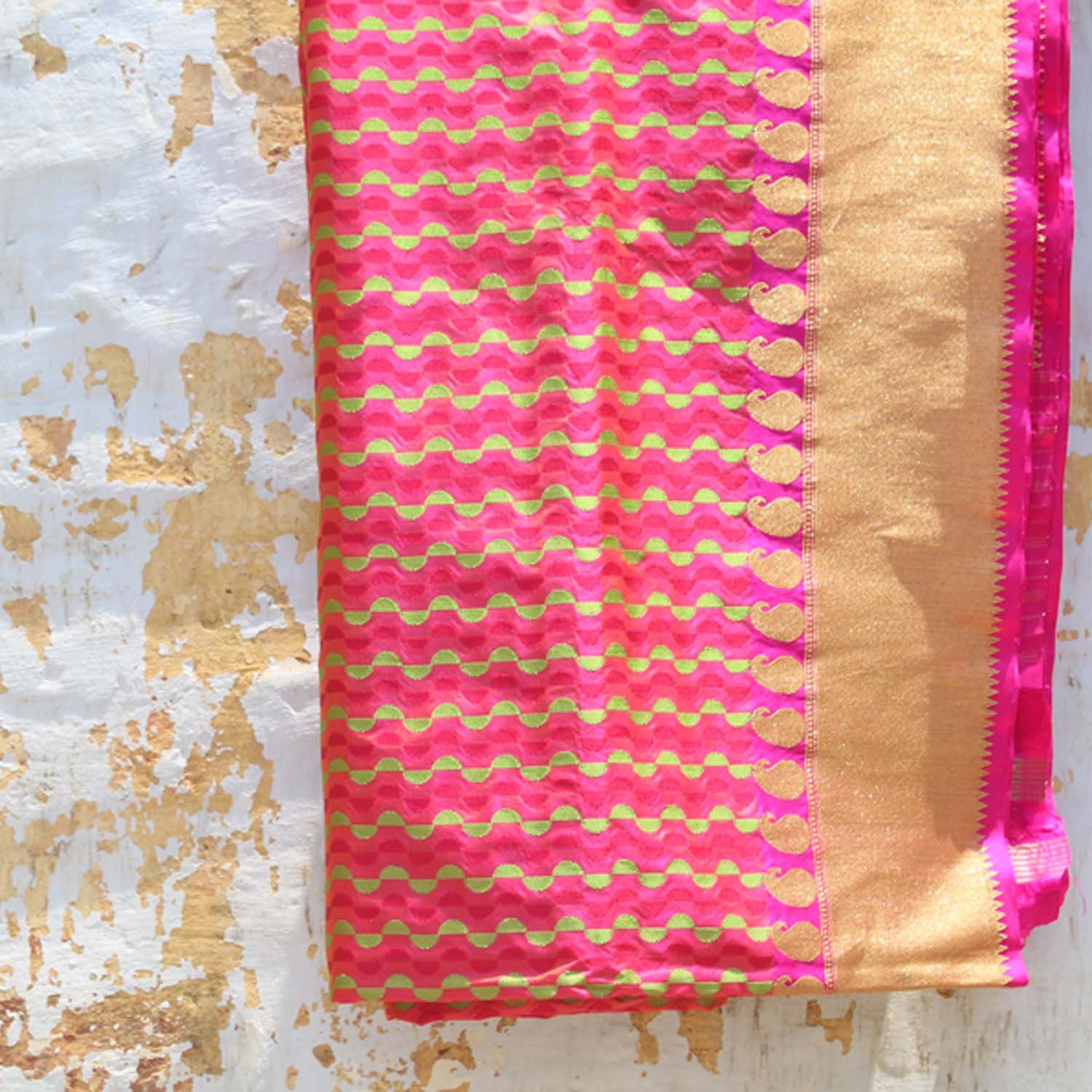 Indian Pink-Orange Pure Katan Silk Banarasi Handloom Saree - Tilfi - 1