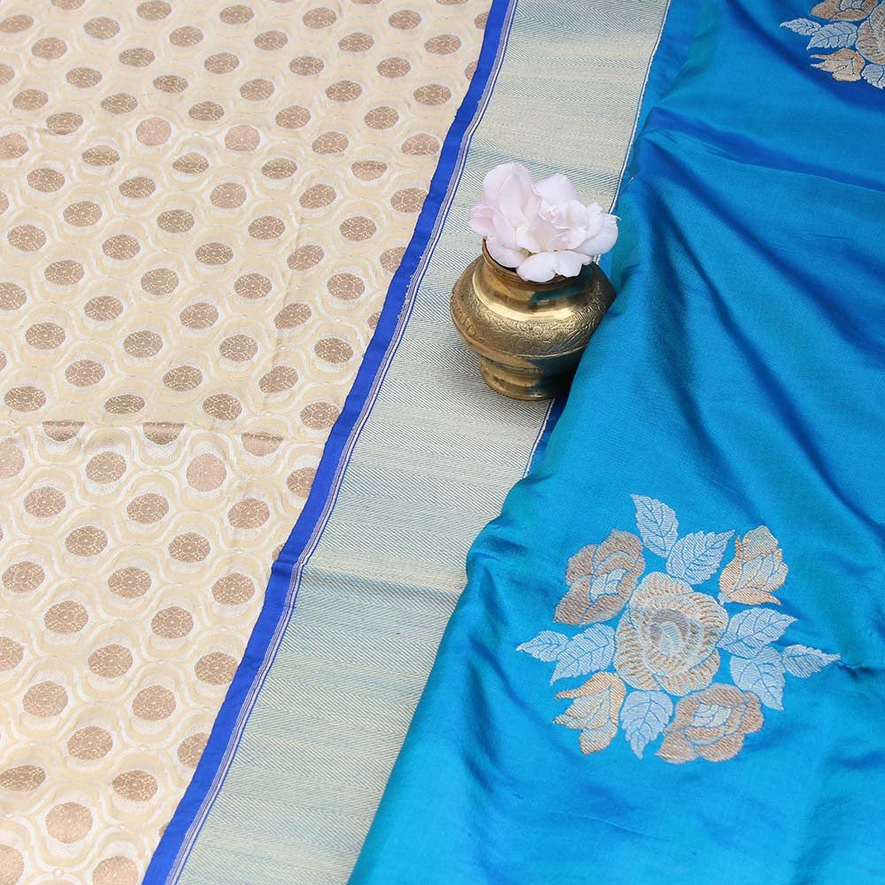 Peacock Blue Pure Katan Silk Dupatta & Cream Pure Katan Silk Fabric