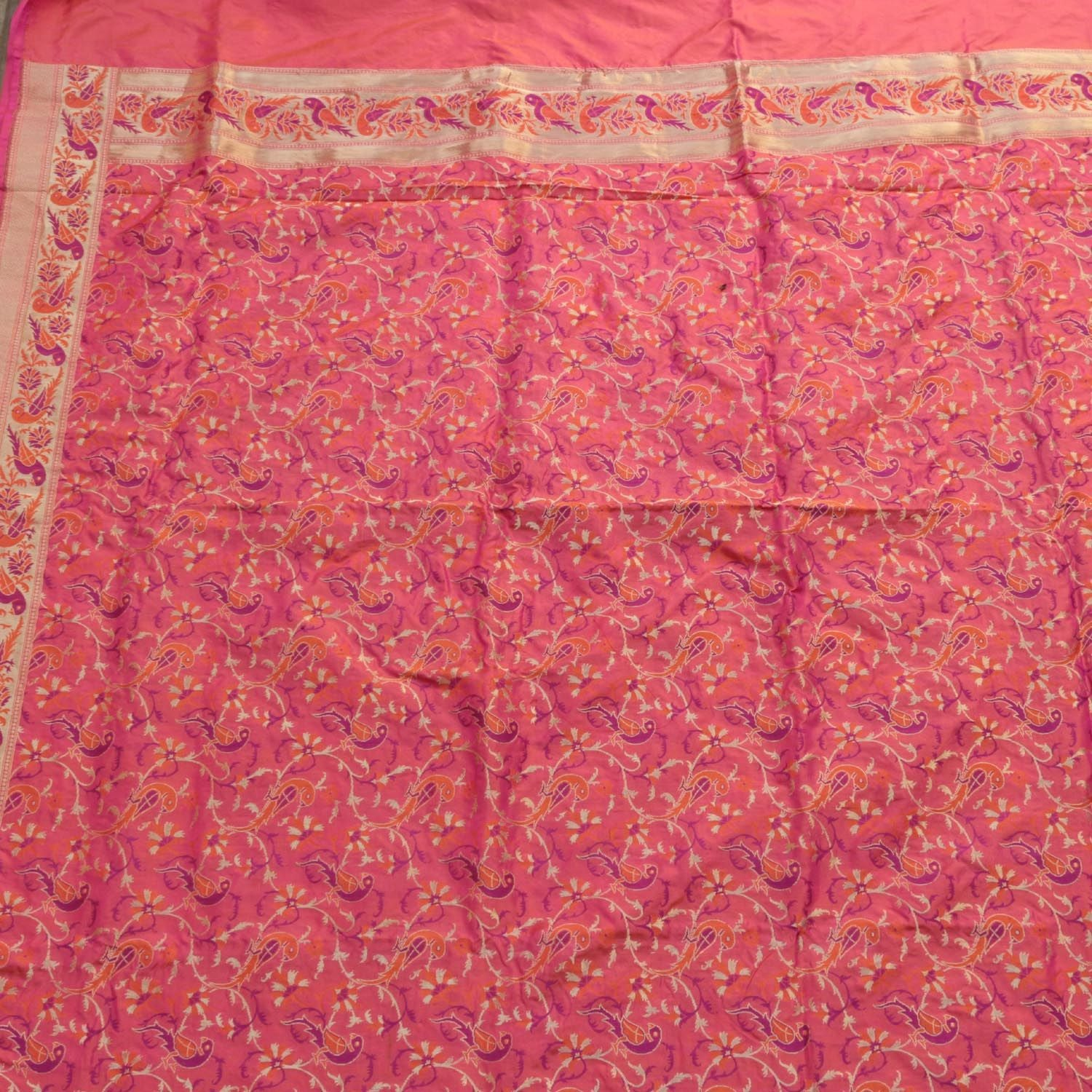 Indian Pink-Orange Pure Katan Silk Banarasi Handloom Dupatta - Tilfi - 2