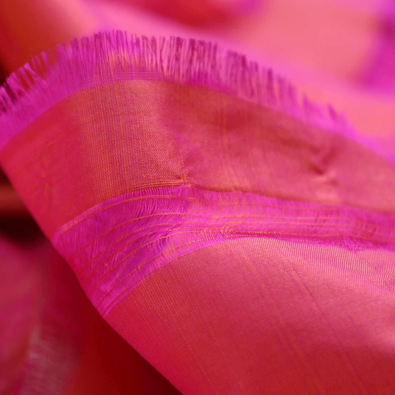 Indian Pink-Orange Pure Katan Silk Banarasi Handloom Dupatta - Tilfi - 4