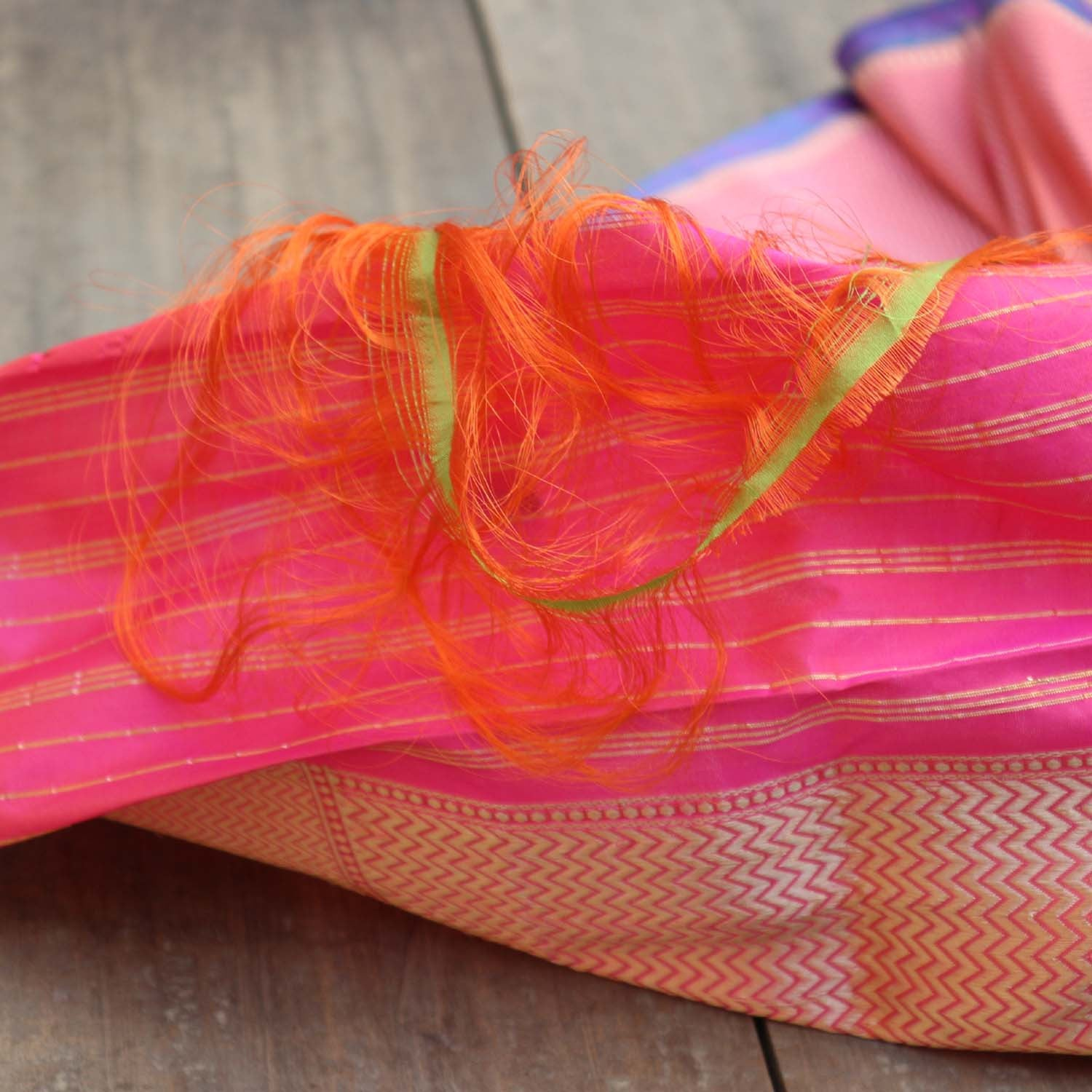 Orange-Rose Pink Pure Katan Silk Banarasi Handloom Dupatta - Tilfi