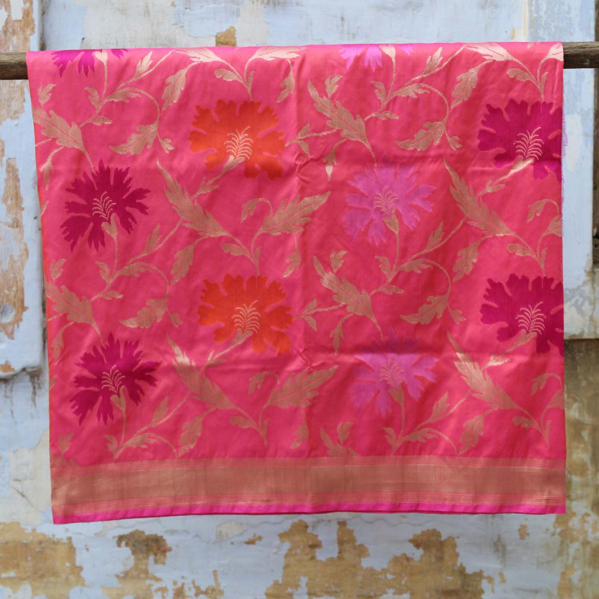 Indian Pink-Peach Pure Katan Silk Banarasi Handloom Dupatta - Tilfi