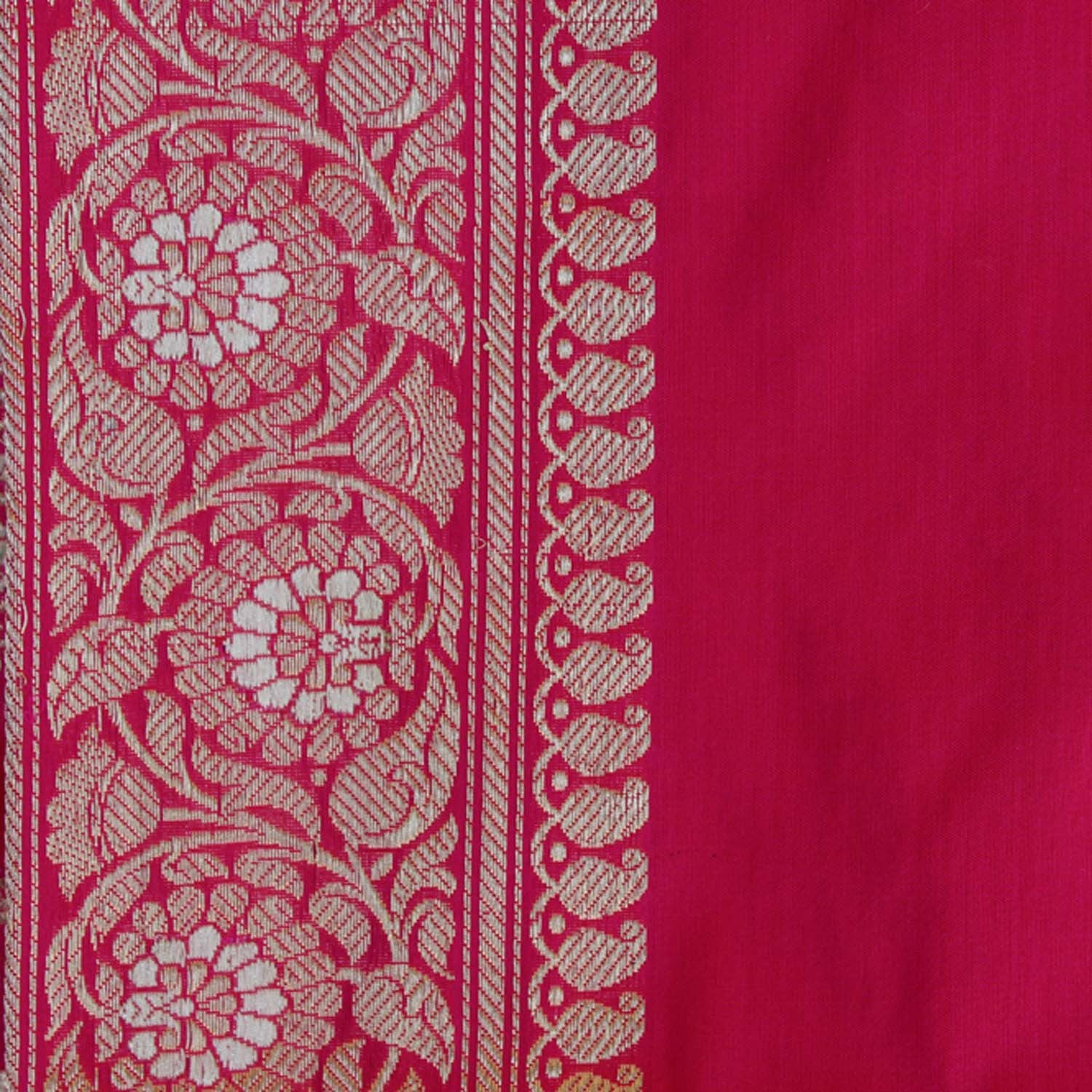Red-Indian Pink Shot Color Pure Katan Silk Banarasi Handloom Saree - Tilfi - 5