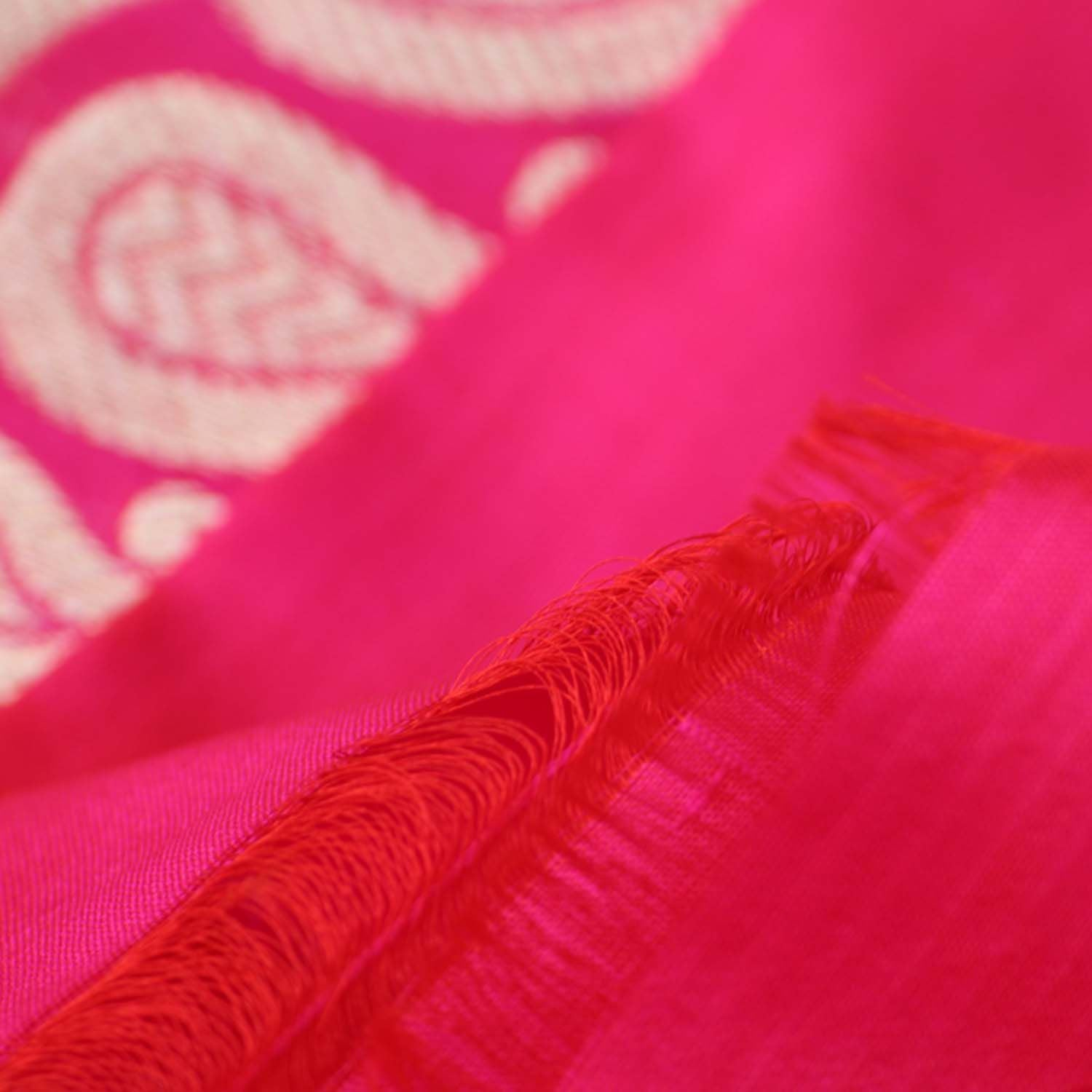 Red-Indian Pink Shot Color Pure Katan Silk Banarasi Handloom Saree - Tilfi