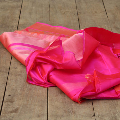 Rust-Indian Pink Shot Color Pure Katan Silk Banarasi Handloom Saree - Tilfi - 3