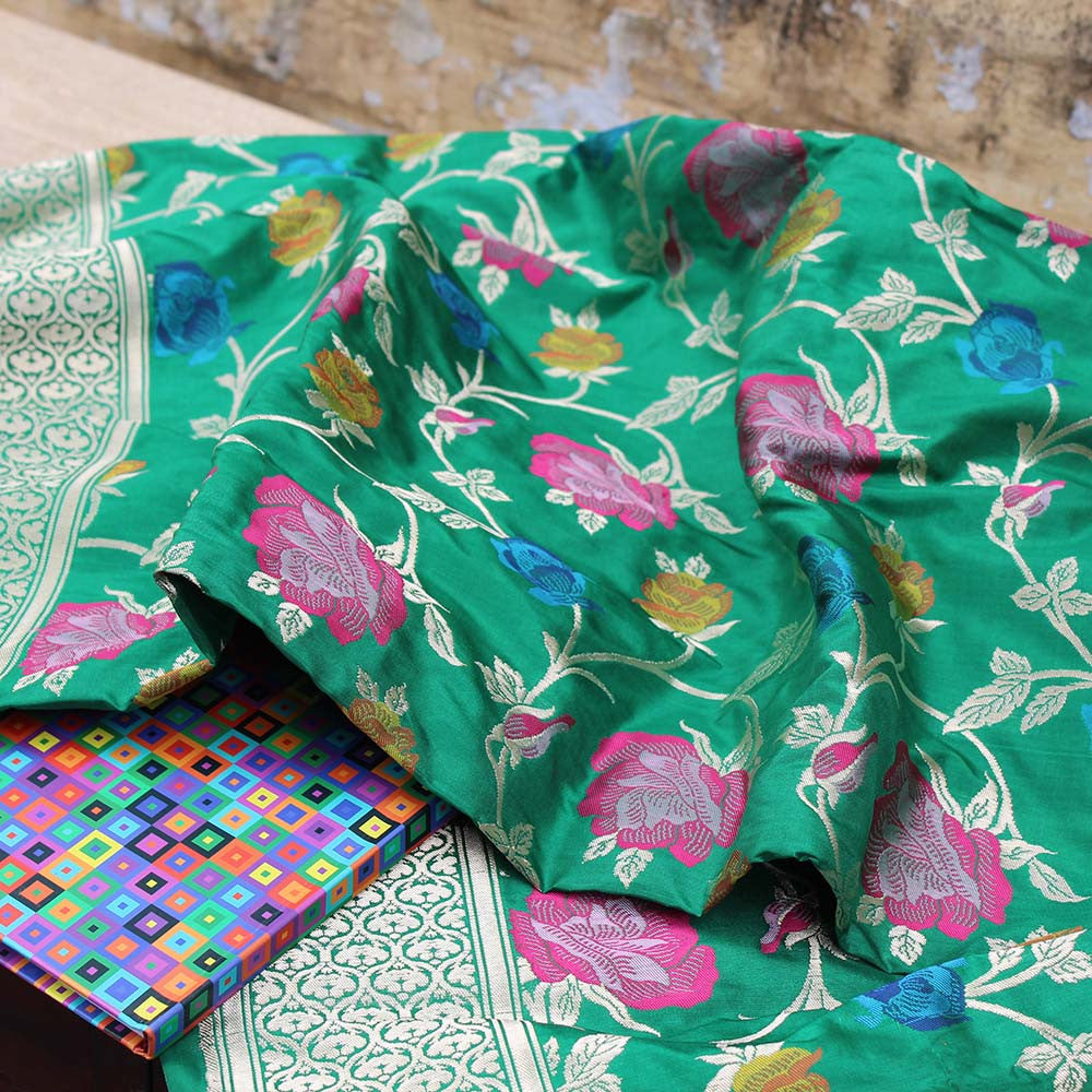 Green Pure Katan Silk Dupatta & Blue-Green Pure Katan Silk Fabric