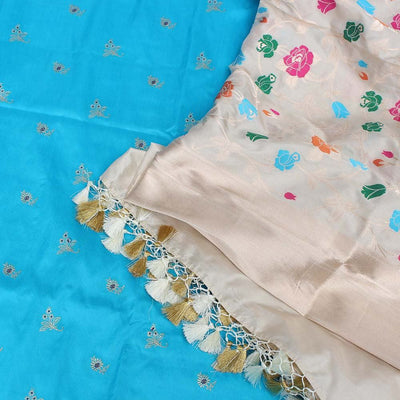 Off-White Pure Katan Silk Dupatta & Ferozi Blue Pure Katan Silk Fabric