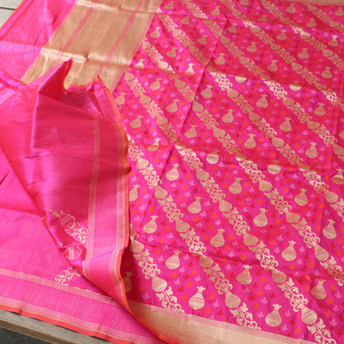 Orange Rose-Pink Pure Katan Silk Banarasi Handloom Dupatta - Tilfi - 5
