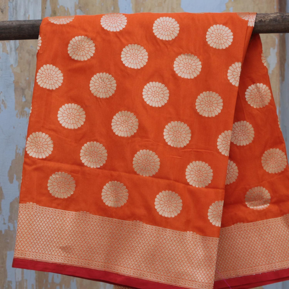 Orange Pure Silk Georgette  Banarasi Handloom Dupatta - Tilfi