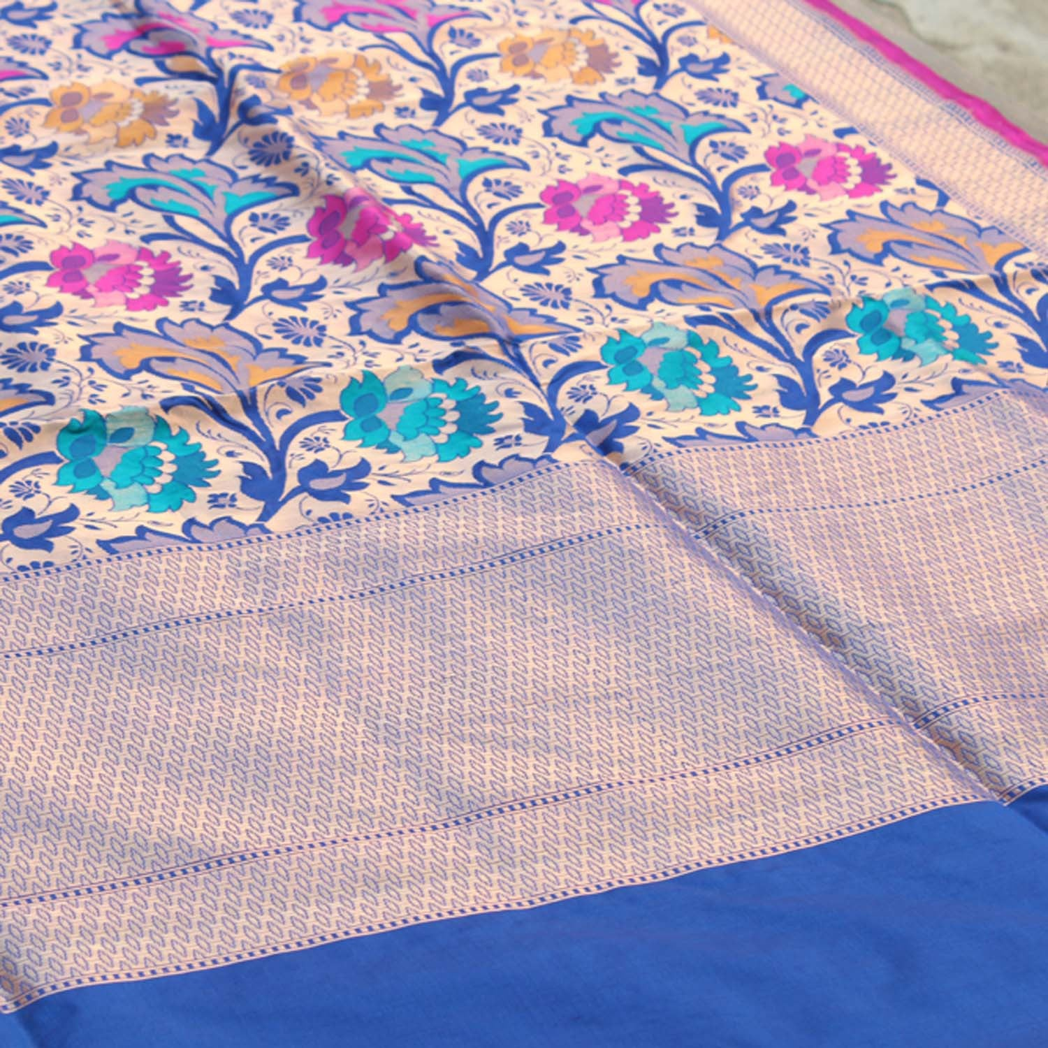 Royal Blue Pure Silk Georgette Banarasi Handloom Saree - Tilfi